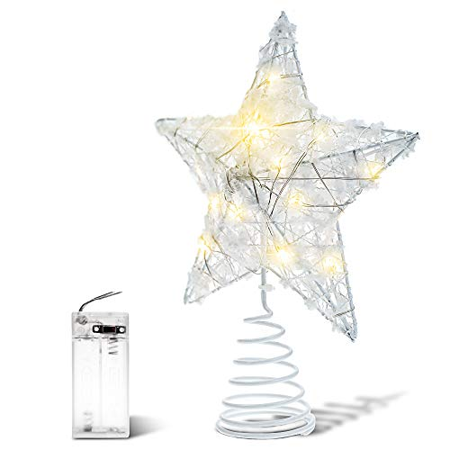 BENGOO Christmas Tree Topper, LED Star Treetop with White Snowflake, Lighted Pentagram Snow Tree Top with 20 Mini Lights for Christmas Tree Decorations