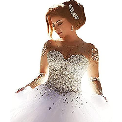 Carnivalprom Damen Prinzessin Hochzeitskleider Strass Perlstickerei Brautkleider Brautmode Lange