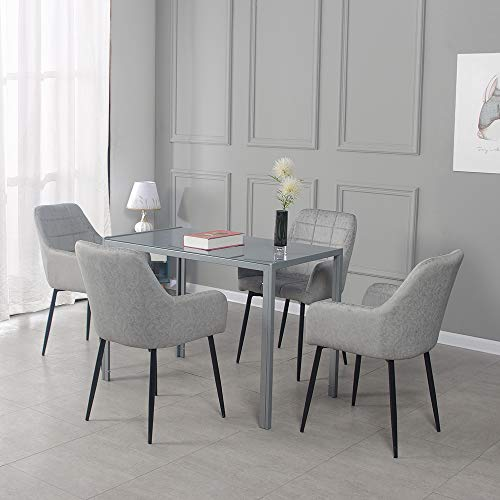 Panana Modern Grey Glass Dinning Table 120cm with 4 Faux Leather Light Grey Dining Arm Chairs Set