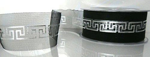 TRAUERBAND 25m x 40mm SCHWARZ - SILBER Muster DEKOBAND Schleifenband Trauerschleife [6576]