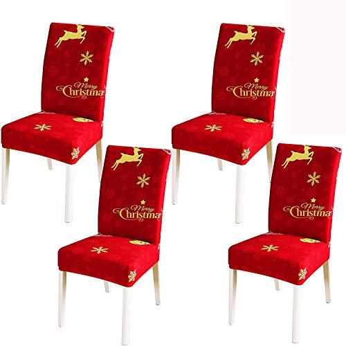 Dimmo Weihnachten Stuhlhussen , stuhlhussen 4er Set Super Fit Stretch Abnehmbarer waschbarer stuhlbezug für Hotel , Esszimmer , Zeremonie , Bankett , Hochzeit , Partydekor.