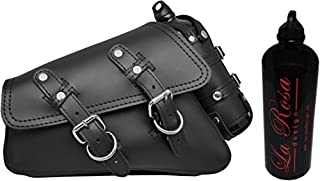 La Rosa Harley-Davidson Sportster XL Black Leather Left Saddle Bag with Integrated Fuel Bottle Set