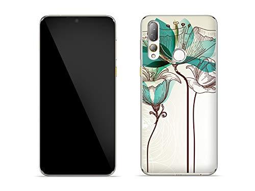etuo Hülle für HTC Desire 19 Plus - Hülle Fantastic Hülle - Aquarelle Blume Handyhülle Schutzhülle Etui Hülle Cover Tasche für Handy