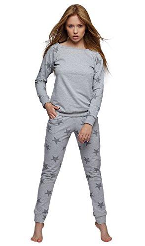 SENSIS modischer Baumwoll-Pyjama Schlafanzug Hausanzug aus langarmem Oberteil und Langer Hose, Made in EU (M (38), hellgrau mit Sternen)