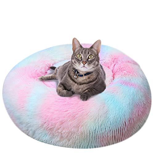 Vejaoo Cama Gato Suave Cama Perro Redonda, Cama calmante para Perros y Gatos XZ002 (Diameter:80cm, Tie-Dye Colorful)