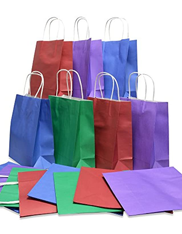 Kraft Gift Bags, Medium, Solid Colors, Red Purple Blue & Green, 8 of each, bulk set of 32 (Medium 8