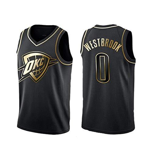 FMSports Herren Basketball Trikots - NBA Oklahoma City Thunder # 0 Russell Westbrook Basketball Fan Uniform Coole Atmungsaktive Stoffweste T-Shirt Jersey,XL~180cm/85~95cm