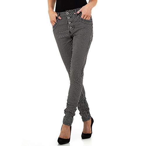 Ital-Design Damen GESTREIFTE Skinny Hose Jewelly Jeans Gr. XS/34 Schwarz