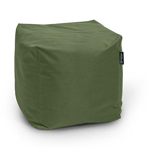 BuBiBag Sitzsack Würfel 45x45x45cm mit Füllung Cube Sitzwürfel Sitzkissen Bodenkissen Kissen Sessel BeanBag (Khaki)