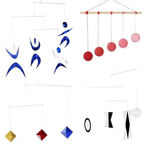 Montessori Mobiles - Juego de 4 móviles montessori - Munari, Gobbi rojo, Dancers Mobile, Octaedron. Montessori Mobile. Tetraedro Mobile. Colgante móvil con iniciales móviles en blanco y negro