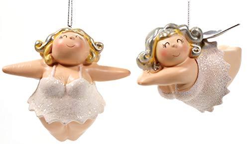 Schick-Design Engel Molly 2er weiß 8 cm Hänger Mädchen Rubensfrau mollige Dame im Dessous Dicke Frau Badezimmer Figur
