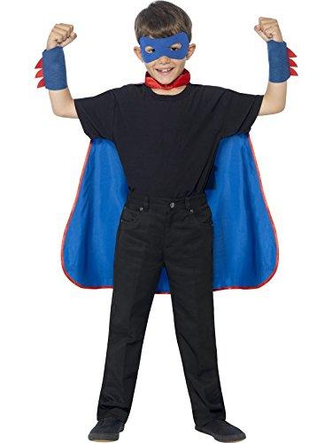 Smiffys Kit super héros, Bleu, avec cape, masque pour les yeux et manchettes