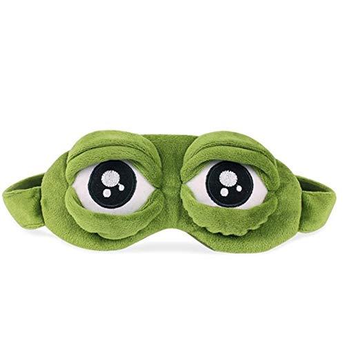 Slaapmasker kikker ogen van de geschiedenis Het schattige oogmasker triste 3D-slaapmasker, slaapmasker, grappig cadeau, slaapmasker, Blue (Groen) - GZSC