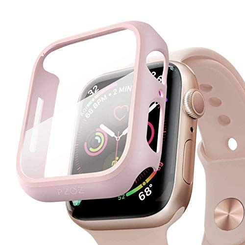 pzoz Compatible for Apple Watch Series 6/5 /4 /SE 44mm Case with Screen Protector Accessories Slim Guard Thin Bumper Full Coverage Matte Hard Cover Defense Edge for iWatch Women Men GPS (Pink)