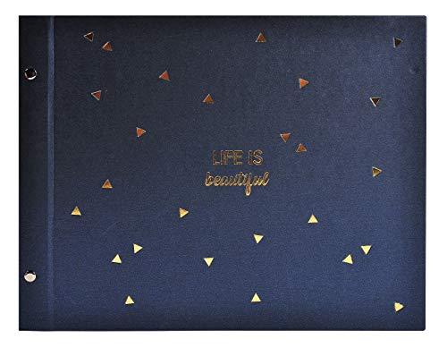 Album photos à vis 40 pages noires - Format 37x29cm - LIFE Bleu