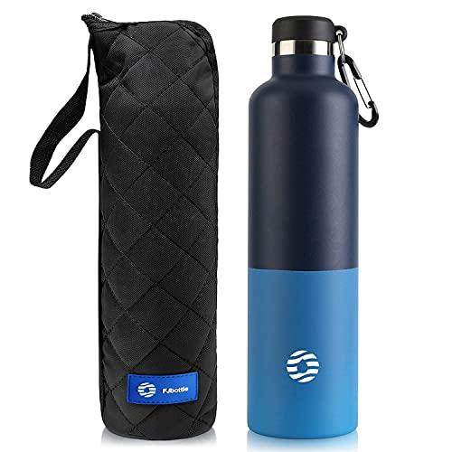FJbottle Botella de Agua Acero Inoxidable 750ML/1000ML, Botella Termica Reutilizable con mosquetón, sin BPA, a prueba de fugas, para Bicicleta, Ciclismo, Gimnasio
