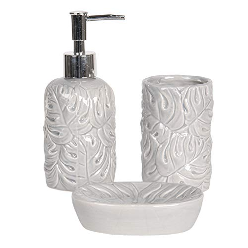 CLEE Tolles 3 teiliges Badezimmer Accessoires-Set aus Keramik, Modell ' Leafs ', grau, wunderschöner moderner Waschtisch Look