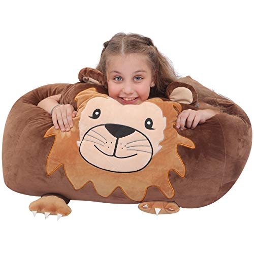 youngeyee Giant Lion Stuffed Animal Storage Kids Bean Bag Chair Cover, 24x24x20 Inches Velvet Toy Organization and Storage Zipper Bags for Plush Toy Pillows Blankets Towels Clothes