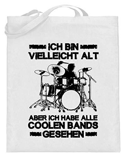 shirt-o-magic Großeltern Oma Opa: Hab die coolen Bands gesehen! - Jutebeutel (mit langen Henkeln) -38cm-42cm-Weiß