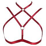 Body Harness Bra Women Fashion Strappy Top Goth Punk Festival Art Lingerie Pentagram Harajuku Belt (Wine Red)