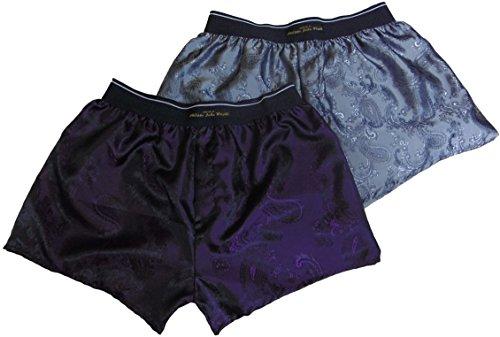 Philippe john wright Boxer double en soie pour homme SNHINY argenté et violet royal fabriqué en France - Argenté - Large