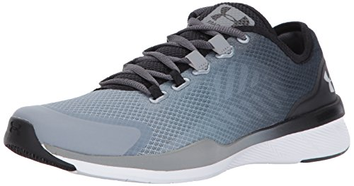 Under Armour Women's Charged Push Sneaker, Rhino Gray (077)/Steel, 10