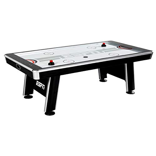 ESPN Sports Air Hockey Game Table: 90 Inch Indoor Arcade Gaming Set with Electronic Overhead Score System, Sound Effects