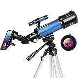 pchase Telescopio Astronomico, Portátil y Potente Refractor Telescopio, Azul 400/70mm Zoom HD, Ajustable Trípode, Apto Adultos, Niños y Principiantes, Observer la Luna, Aves, Regalo para Niños