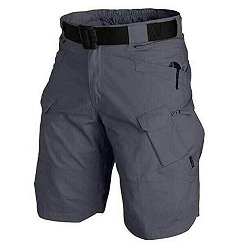 2021 Pantalones Cortos De Carga Impermeables Mejorados De Gran Tamaño, Pantalones Cortos Elásticos para Exteriores, Pantalones Cortos De Trabajo De Cintura Elástica Militar (Gris, 4XL)