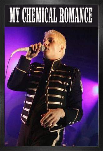 1art1 My Chemical Romance Póster con Marco (Madera DM) - Gerard Way, Live (91 x 61cm)