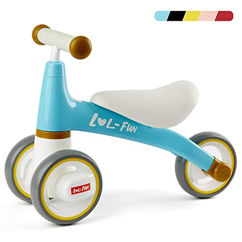 LOL-FUN Baby Balance Bike for 1 Year Old Boy and Girl Gifts Ride On Toys 12-18 Months, Toddler Bike for One Year Old First Birthday Gifts - Blue