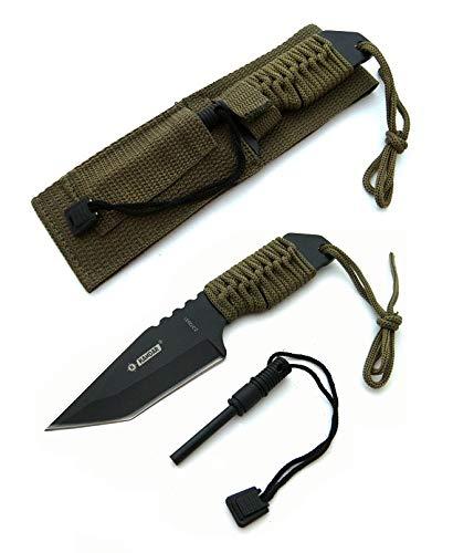 KOSxBO® Fahrtenmesser 18 cm inklusive Feuerstein in Army Green - Hunting Knife - Gürtelmesser - Survival Tool - Kampfmesser -