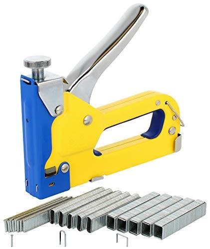 COM-FOUR® 3-weg handtackerset voor nieten in verschillende maten en spijkers - tackerpistool om te bevestigen - spijkerpistool (01 stuks - blauw/geel)