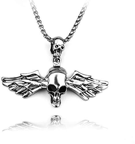 NC110 Collar con Colgante de Calavera de Plumas de ala de ángel Punk para Hombres Cadena de Acero Inoxidable para Hombres YUAHJIGE