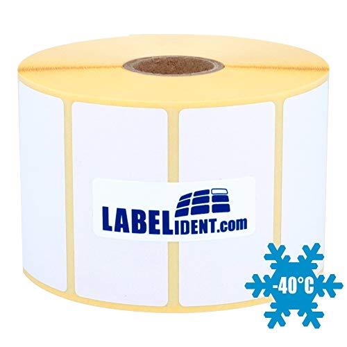 Labelident Tiefkühletiketten verklebbar bis -10°C - 60 x 40 mm - 1000 Papieretiketten Gefriergut auf 1 Zoll Rolle für Desktopdrucker, weiß matt