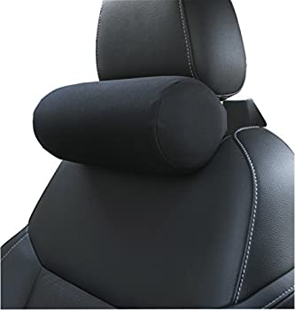 Memory Foam Chairs Recliner Car Neck Pillow with Adjustable Strap Soft Auto Cervical Round Roll Bolster Headrest Supports Cushion Pad Black 1 Piece