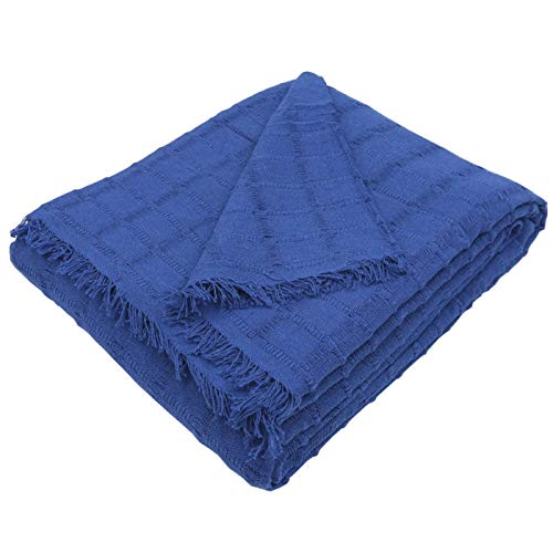 MERCURY TEXTIL- Colcha Multiusos Sofa,Manta Foulard,Plaid para Cama,Cubresofa Cubrecama,jarapas,Comoda Practica y Suave. Poliester Algodón (180 x 260cm, Liso Azul)