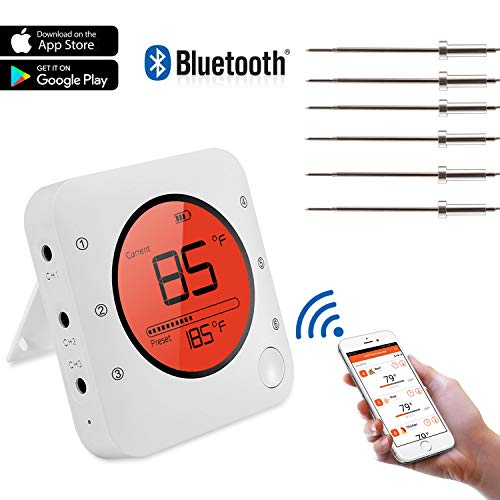 Meat Thermometer, Bluetooth Wireless Digital Grill Thermometer,Smart BBQ Thermometer with 6 Upgraded Stainless Steel Probes, APP Remote Alarm Monitor for Grilling, Smoker Oven BBQ and Cooking