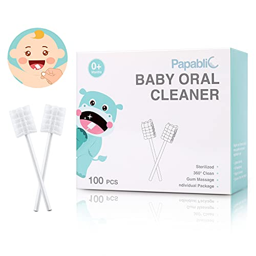 [100-Pack] Papablic Baby Tongue Cleaner, Baby Toothbrush, Upgrade Gum Cleaner with Paper Handle for Babies and Infants Ages 0-2 Years