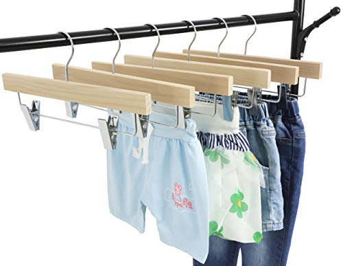 TOPIA HANGER 11.8'' Unfinished/Natural Wooden Pants Skirt Hangers for Kids Baby Toddler Children, Extra Thick Chrome Hooks & Anti-Wrinkle Premium Flat Clips 10 Pack CT09PN