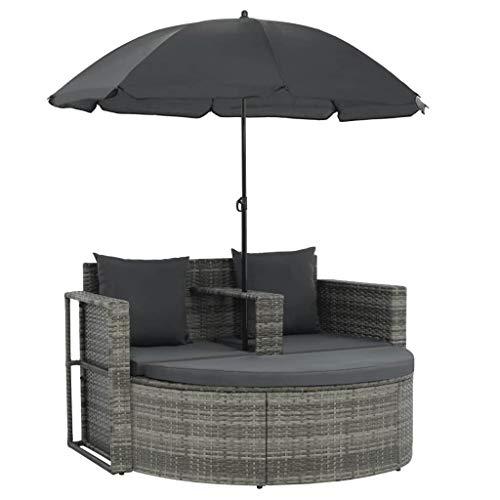 yorten Polyrattan Gartensofa 2-Sitzer mit Sonnenschirm und Fußstütze, Gartensofa-Garnitur Sonneninsel Rattansofa UV-beständige Sonnenschirm für Garten oder Terrasse (Grau)