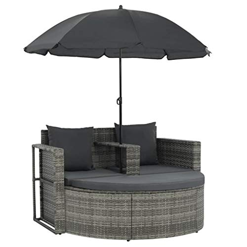 Vidaxl Garden Lounge with Parasol Poly Rattan Lounge Set Garden Furniture