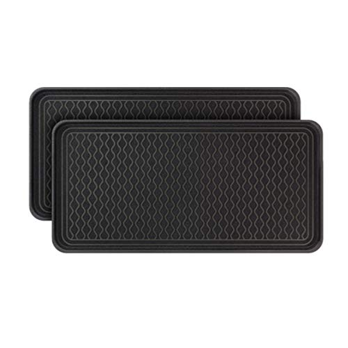 "Vramy Multi-Purpose Boot Trays,Set of 2 Black All Weather Heavy Duty Shoe Trays,Pet Feeding Mat,Use for Indoor and Outdoor,30"" x 15"" x 1.2"""