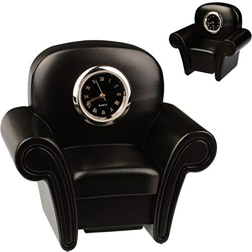 alles-meine.de GmbH kleine - Tischuhr / Miniatur - Uhr - Sessel - Clubsessel - aus Metall - 8 cm - batteriebetrieben - Analog - Batterie - schwarz - Zahlen Stehuhr / Standuhr - W..