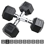 Aimyoo Hex Rubber Dumbbell for Full Body, Home Fitness, Weight Loss, Heavy Dumbbells Choose Weight 10lb, 2PCS