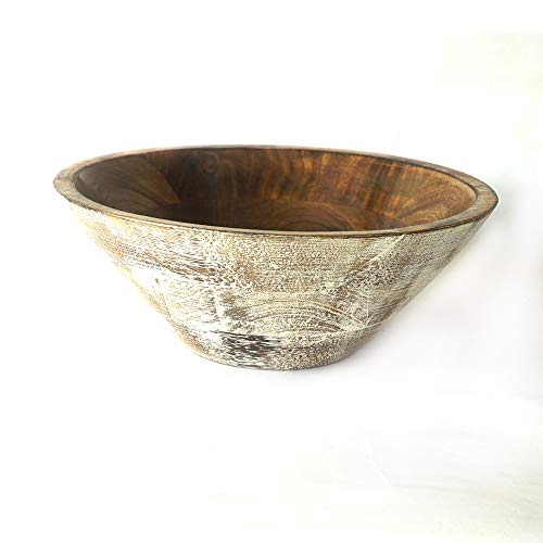 """BHAVATU Mango Wood Handmade Fruits and Salad Bowl 