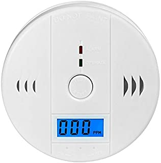 Carbon Monoxide Detector CO Alarm Detector with LCD Digital Display Battery Operated, White, 1-Pack