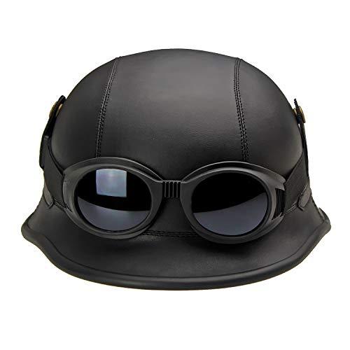 Casco de Piel Negra para Motocicleta y Bicicleta con Gafas de piloto,...