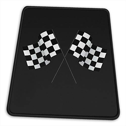 Mouse Pad Checkered Flags Race Car Flag Mouse Mat Gaming Non-Slip Rubber, Waterproof Mousepad with Stitched Edges