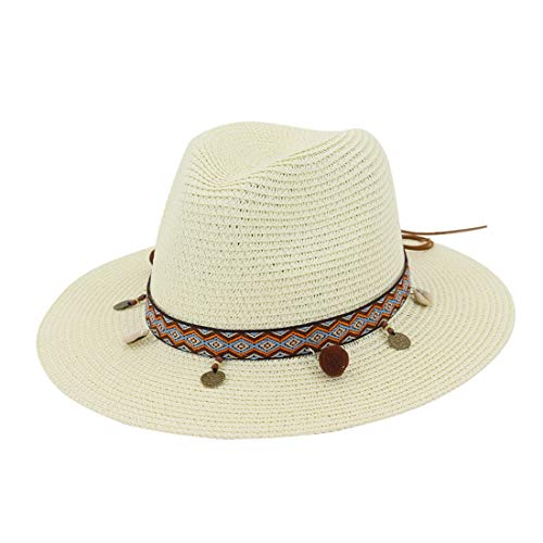 FENXIMEI Brede Rand Floppy Strand Zon Vizier Hoed Fedora Cap Straw Hoed met Strand Zwembad Park Camping Wandelen Straw Zonnehoed